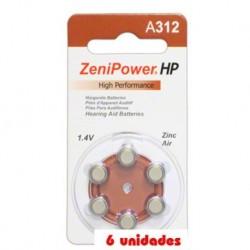 Pack 60 pilas Zenipower 312 Audífonos