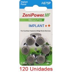 Pack 120 Pilas Zenipower: 2 Paquetes de 60 pilas implante coclear