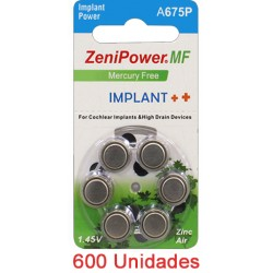 ZeniPower A675P - 600 uds. Implante coclear