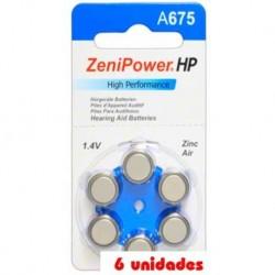 Pack 60 pilas Zenipower 675 Audífonos
